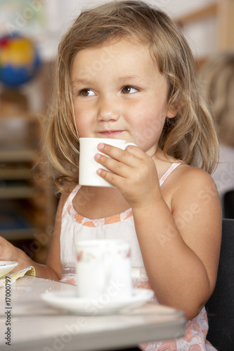 Young Boy Having Tea at Montessori/Pre-School