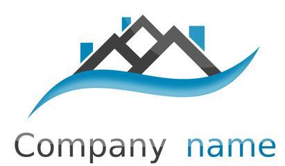Logo maisons vague bleu gris