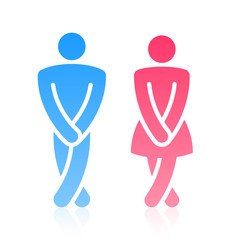 Oops!.. Male and female symbols. Vector.
