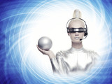 Beautiful cyber woman with a silver ball poster