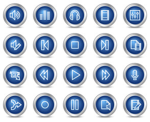 Audio video edit web icons, blue circle buttons series