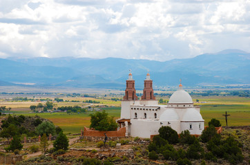 Church on a Hill Overlooking Fields
