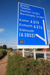 Motorway Sign Junction 30 M5 Exeter