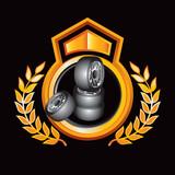 Fototapety Tires on orange royal crest