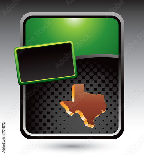 Texas icon on green stylized advertisement