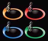 Music note on colored swooshes poster