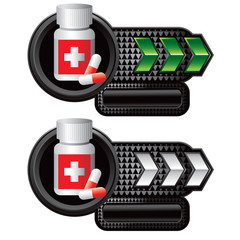 Medicine bottle on green and white arrow templates