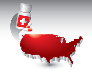 Medicine bottle over red united states icon