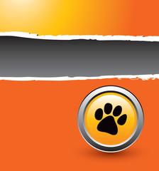 Pawprint on orange ripped banner