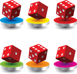 Red dice on colored discs