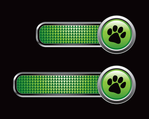 Paw print on green checkered tabs