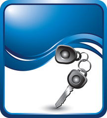 Car keys on blue wave background