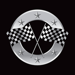 Racing checkered flags in silver star circle banner