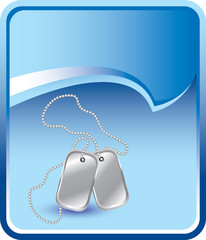 Silver dog tags on blue rip curl background