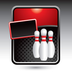 Bowling pins on red stylized banner