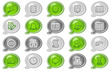 Database web icons, green and grey speech bubble series poster