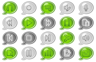 Audio video edit web icons, green and grey speech bubble series