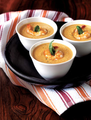 appetizer, seafood, shrimp and basil bisque soup