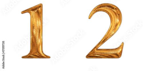 ゴールドの数字 1 2