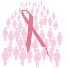 pink ribbon walk illustration