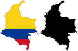 vector map and flag of Colombia poster