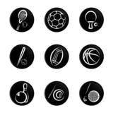 sport object icon set poster