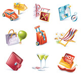 Fototapety Vector cartoon style icon set. Part 13. Traveling