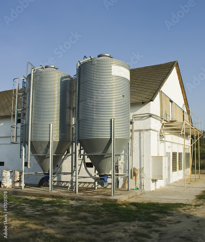 chicken farm and silos