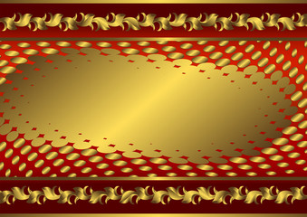 Abstract red and golden floral vintage frame