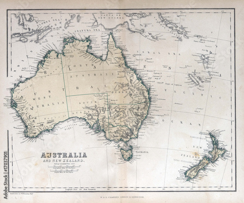 Canvas Retro Old map of Australia & New Zealand, 1870