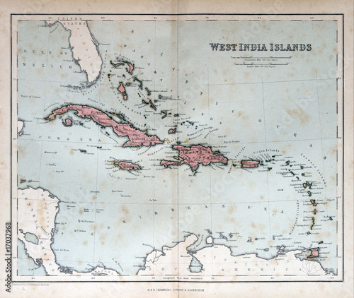Old map of West India Islands, 1870. Bahamas, Haiti, Puerto Rico