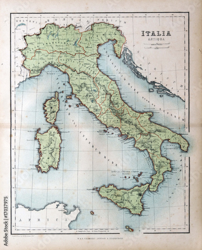 Poster Retro Old map of Italy, 1870