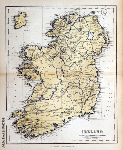 Spoed canvasdoek 2cm dik Retro Old map of Ireland, 1870