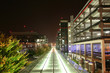 Parkhaus am Flughafen Stuttgart bei Nacht