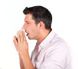 ill sneezing man poster