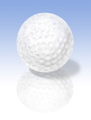 Golf ball on reflective surface