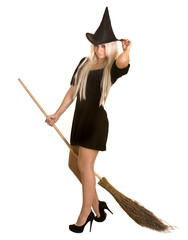 Halloween witch blond in  hat with broom.Isolated.
