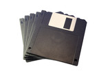 pack of black floppy disk isolated on white background