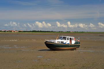 Boat on tidal flat