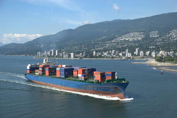 Freighter Steaming Towards Port of Vancouver