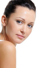 Face of beautiful woman with healthy skin