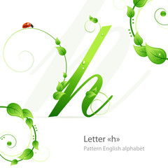 Eco green pattern alphabet with leafs and ladybird. Letter h