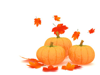 Pumpkins and leafs