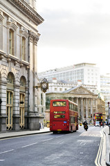 London street with view of Royal Exchange building