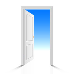 Come in! The door is open. Vector illustration.
