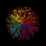 Colorful vector background with spectrum dots poster