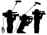 Cameraman at work silhouettes side view poster