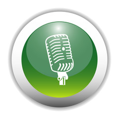 Glossy Microphone Sign Button