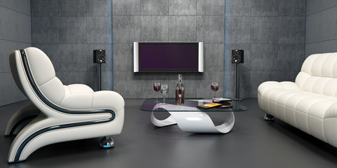 Interior design of home cinema