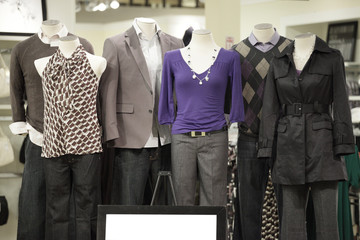 Group shot of mannequins wearing modern clothing